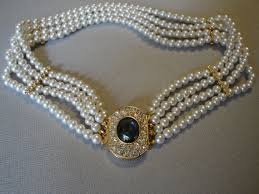 choker necklace wedding vintage images Vintage pearl choker necklace with fancy rhinestone clasp multi 4 jpg