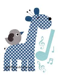 Music Note Decor 1400 Light Blue Music Note Elephant Musical Nursery Artwork Print