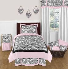 elegant black white pink damask scroll bedding twin full queen