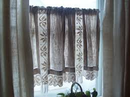 Lace Cafe Curtains Vintage Linen Curtains Crocheted Cotton By Thehumblecottage