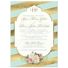 mint wedding invitations monogrammed wedding invitation mint faux gold scroll stripes
