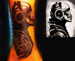 skull and headphone by medootattoo on deviantart