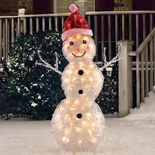 outdoor sculpture pre lit icy snowman outdoor yard