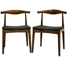 Black Wood Dining Chair Mid Century Black Faux Leather And Brown Wood Dining Chair 2 Piece