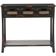 black sofa table with drawers safavieh corby distressed 3 drawer black console table free