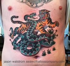 sailor jerry s tiger vs snake traditional tattoos