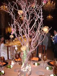 Tree Centerpiece Wedding by Centerpieces Manzanita Tree Branches In Tall Clear Vase Filled