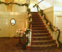 Banister Garland Ideas Main Enterance Staircase Garland Petal Talk Wedding Flowers Loversiq