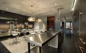 modern and luxury kitchen in a penhouse background