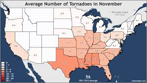 Midwest United States Map by Annual And Monthly Tornado Averages For Each State Maps U S