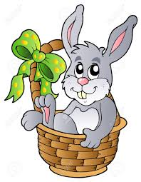 easter bunny baskets easter bunny in basket royalty free cliparts vectors and stock