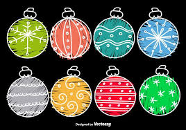 hand drawn cartoon christmas balls download free vector art