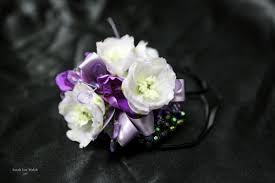 purple corsage purple and white on black bracelet corsage earle s loveland