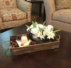 Decorative Trays For Coffee Table Astounding Brown Small Rectangle Rustic Wood Tray Coffee Table