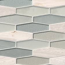 europa elongated hexagon 8 mm glass and stone mosaic backsplash