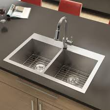 stainless steel sink twin bowls square corners plumbing artika