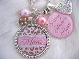 aunt gift mother necklace personalized pink cheetah print bottle