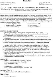 Leasing Consultant Sample Resume Sample Leasing Agent Resume Talent Agent Resume Sample