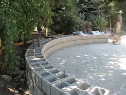 home design curved cinder block retaining wall pergola storage