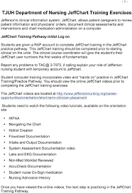 tjuh department of nursing jeffchart training exercises pdf