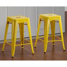 tabouret 24 inch lemon metal counter stools set of 2 yellow