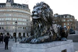 statue lions fifth lion made of clocks in trafalgar square unveiled by