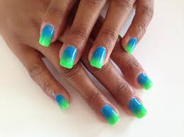custom colour neon green and blue gel overlay ombre nails