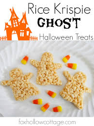 halloween rice krispie ghost dessert treats fox hollow cottage
