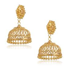 earrings in gold senco gold 22k yellow gold jhumki earrings