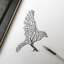 alfred basha bird tree ink bird drawing things
