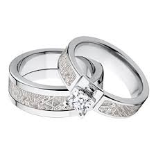 his and hers matching wedding rings new his and matching meteorite wedding ring set