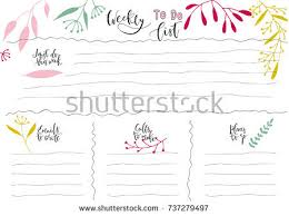 templates for handwriting handdrawn weekly list templates handwriting lettering stock photo