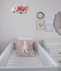Pink Gold And White Bedroom Pink White And Gold Twin Nursery Twin Nurseries Flower Mobile
