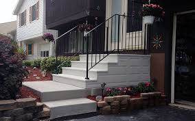 unit step precast concrete and wrought iron railing