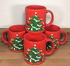 vtg waechtersbach christmas tree mugs set of 4 original design w