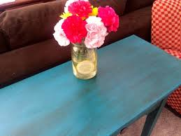 side table makeover with valspar chalk finish paint the happy