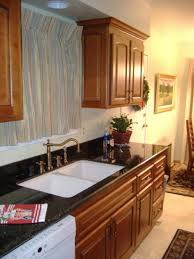 kitchen white double sink on dark countertops and plant decor