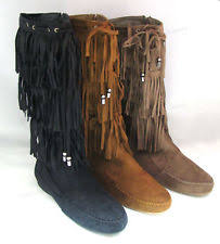 womens boots size 9 5 womens suede tassel fringe moccasin boots flat layer mid calf