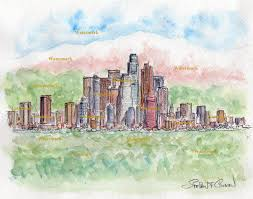 angeles skyline watercolor painting of downtown with mountains