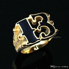 black magic rings images Men 39 s 18k gold plated lucky no 13 dragon claw biker ring black jpg