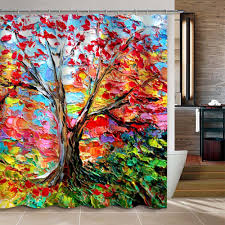 Custom Bathroom Shower Curtains Colorful Painting Tree Pattern Custom Bathroom Shower Curtain