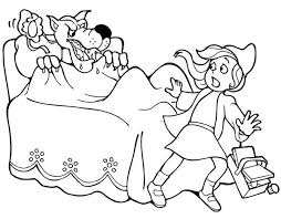 red riding hood running scared wolf coloring pages