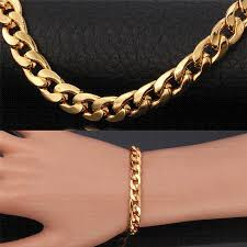 gold bangle bracelet men images Hot trendy gold bracelets men jewelry accessories 21cm 8mm thick jpg