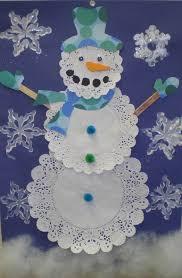 doiley snowman 3 doilies 3 pom poms 2 popsicle sticks 2 wiggly