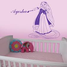 rapunzel personalised with a name of your choice wall stickers purple personalised rapunzel wall decal in a bedroom