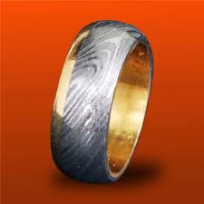 damascus steel wedding band damascus steel brass men ring size 7 5 band two tone wedding