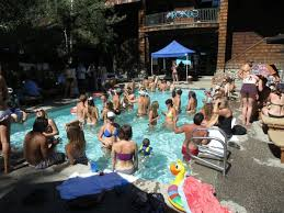 house pool party pumpkin and arcade rock the plumpjack pool party lake tahoe