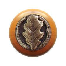 Wooden Cabinet Knobs Notting Hill Nhw 744m Ab Wood Cabinet Knob Oak Leaf Maple