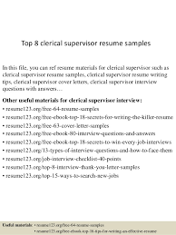 Resume Objectives For Clerical Positions Top 8 Clerical Supervisor Resume Samples 1 638 Jpg Cb U003d1431861875