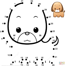 cute baby dog dot to dot free printable coloring pages